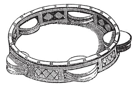 pandero: Pandereta o infante de marina o de Tambo, cosecha ilustración grabada. Pandereta aislado en blanco. Enciclopedia Trousset (1886 - 1891).