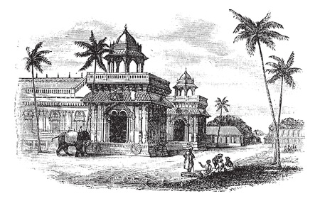 hindu temple: Tanjore Palace, vintage engraved illustration. Exterior of Tanjore palace. Trousset encyclopedia (1886 - 1891).  Illustration