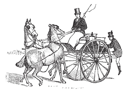 Tandem, vintage engraved illustration. Three horse-drawn carriage. Trousset encyclopedia (1886 - 1891).  Ilustração