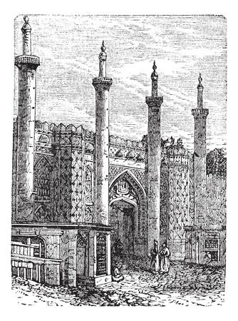 テヘラン。-元の南門ビンテージ図を刻まれています。テヘランでの歴史的なゲート。Trousset (1886年-1891 年) の百科事典。