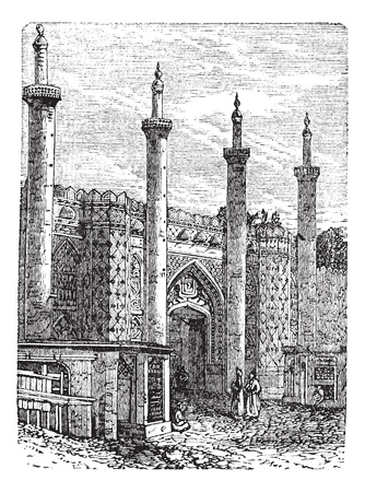Tehran. -Former South Gate, vintage engraved illustration. Historic gate in Tehran. Trousset encyclopedia (1886 - 1891). Stock Vector - 13772198
