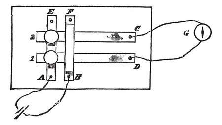 Fig. 2. - Plan a simple power switch, vintage engraved illustration. Trousset encyclopedia (1886 - 1891).