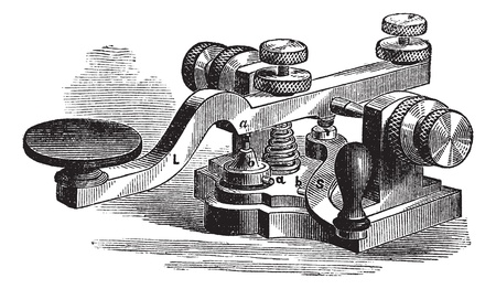 Fig. 8. Morse manipulator. - A, platinum-tipped or contact, a platinum extra contact, b contact the bottom plate; b second platinum contact aditional; L, lever; S, leverage additional, vintage engraved illustration. Trousset encyclopedia (1886 - 1891).