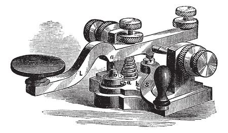 Fig. 8. Morse manipulator. - Een, platina-tip of neem contact op, een 'platina extra contact, b contact op met de bodemplaat, b' tweede platina contact aditional, L, hefboom, S, leverage extra, vintage gegraveerde illustratie. Trousset encyclopedie (1886 - 1891).