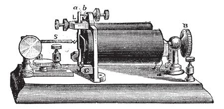 telegraphy: Fig. 9. Relay. - A, b, o platino punta contatto, B, testa della vite, L, asta di metallo o di una leva, S, primavera, vintage illustrazione inciso. Trousset enciclopedia (1886 - 1891).
