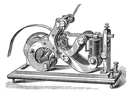 morse: Fig. 11. Morse receiver. - A frame, L, Lever, M, electromagnet; P, paper tape, SS, Screw, vintage engraved illustration. Trousset encyclopedia (1886 - 1891).