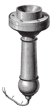 alexander: Fig. 4. - Perspective of the new telephone Magnetic Bell, vintage engraved illustration. Trousset encyclopedia (1886 - 1891). Illustration