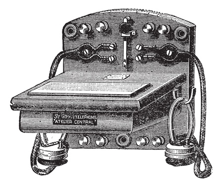 telefono antico: Fig. 6. - Telefono Ader-Bell, vintage illustrazione inciso. Trousset enciclopedia (1886 - 1891).