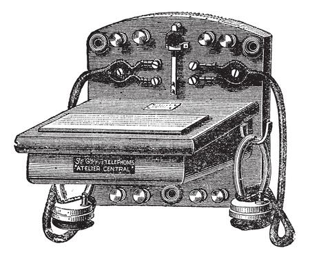 Fig. 6. - Telefoon-Bell Ader, vintage gegraveerde illustratie. Trousset encyclopedie (1886 - 1891). Stock Illustratie