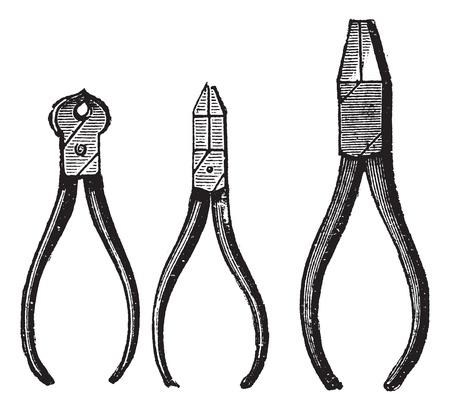 tenailles: Pinces, cru illustration grav�e. Pince isol� sur fond blanc. Encyclop�die Trousset (1886-1891).