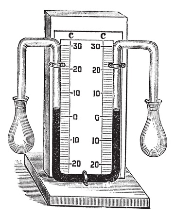 diagnostic medical tool: Differential thermometer. vintage engraved illustration. Medical thermometer on white. Trousset encyclopedia (1886 - 1891).