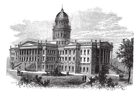 Topeka, Capitol of the state of kansas or Kansas Statehouse, vintage engraved illustration. The Kansas State Capitol during late 1800s. Trousset encyclopedia (1886 - 1891). Vector