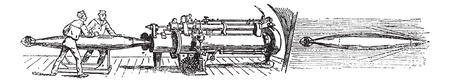 Discharge of the torpedo Whitehead, vintage engraved illustration. Trousset encyclopedia (1886 - 1891).