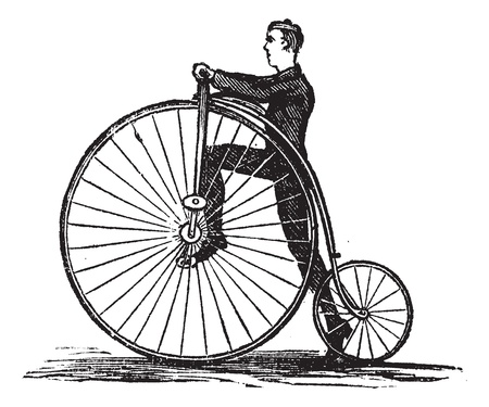 Penny-farthing or High Wheel Bicycle, showing how to mount the bicycle by stepping on the pedal, vintage engraved illustration. Trousset encyclopedia (1886 - 1891). Vector