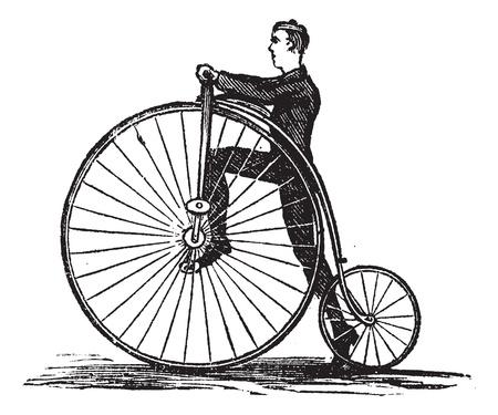 Velocípedo o bicicleta de rueda alta, que muestra cómo montar la bicicleta pisando el pedal, cosecha ilustración grabada. Enciclopedia Trousset (1886 - 1891). Foto de archivo - 13766674