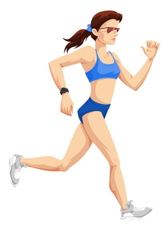 running race: Squared shoulder woman running with glasses and blue outfit, vector Illustration