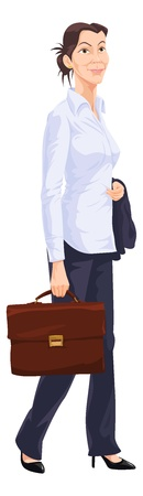 smart girl: Working Woman, in Long-sleeved White Shirt, Blue Trousers, Black Heels, Holding a Blue Jacket and Brown Leather Briefcase, vector illustration Illustration