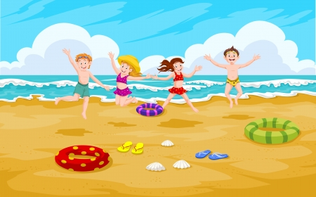 Children at the Beach, Fun in the Sand, vector illustration Illustration