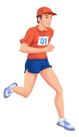 Man with a red shirt, number one, running a marathon. Vector