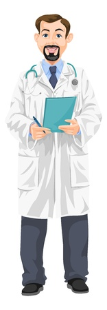 md: Male Doctor, with Stethoscope and Medical Chart and Pen, vector illustration Illustration