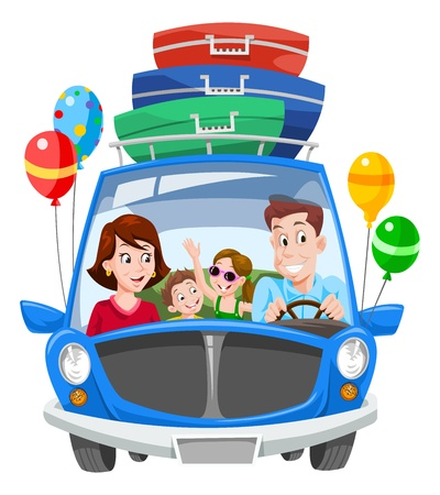 Family Vacation, Car with Luggage and Balloons, vector illustration Stock Illustratie
