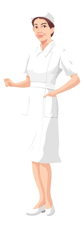 hospital gown: Lady Nurse, in All White Uniform, vector illustration