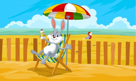 Rabbit at the Beach, Relaxing in the Sand, vector illustration Vectores
