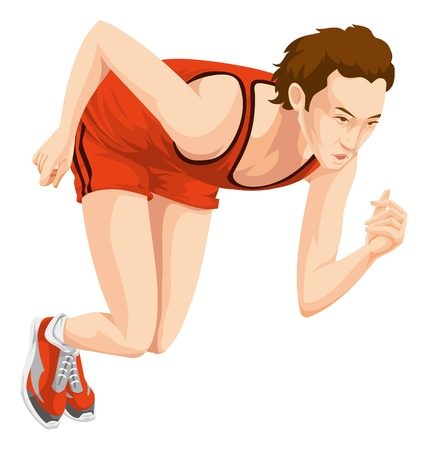 pace: Man in red outfit in sprinting position. Illustration