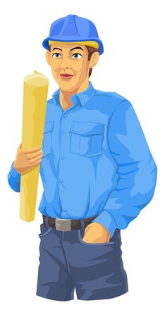 blue shirt: Construction Worker, in Blue Shirt, Trousers, Hard Hat, Holding a Plan, vector illustration