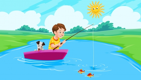 Lake Fishing, Boy and Dog on a Boat, vector illustration Vector