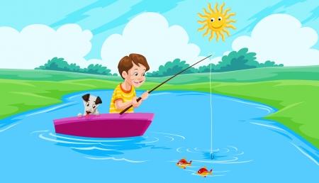 fishing lake: Lake Fishing, Boy and Dog on a Boat, vector illustration Illustration