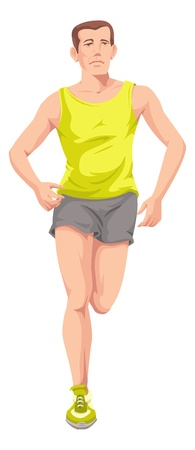 Man with yellow shirt running or training. Vector