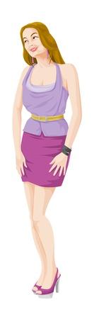 sleeveless: Beautiful Woman, in Violet Sleeveless Top, Purple Pink Short Skirt, and High Heels, vector illustration