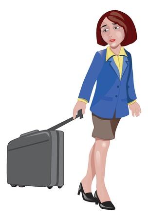 Woman Traveller Pulling Luggage, vector illustration