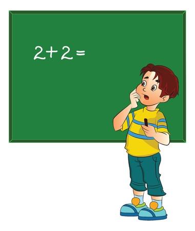 Boy résoudre un problème de mathématiques sur un tableau noir, illustration