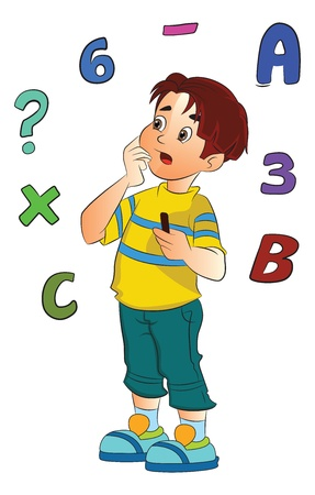 solve problems: Boy Solving a Math Problem, vector illustration
