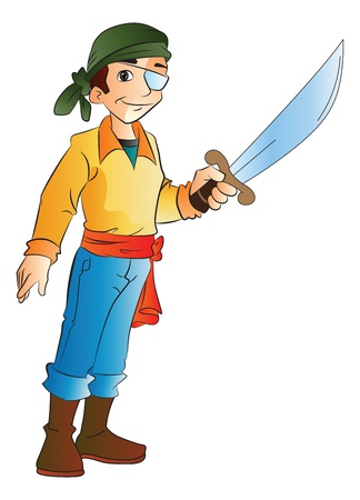pirate crew: One-eyed Young Pirate with a Sword, vector illustration Illustration