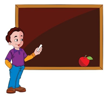 smart boy: Young Man Using a Chalkboard, vector illustration