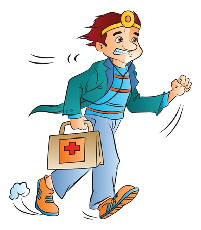 Doctor On-call with Medical Bag, vector illustration Ilustracja