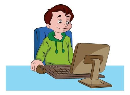 computer education: Boy Using a Desktop Computer, vector illustration Illustration