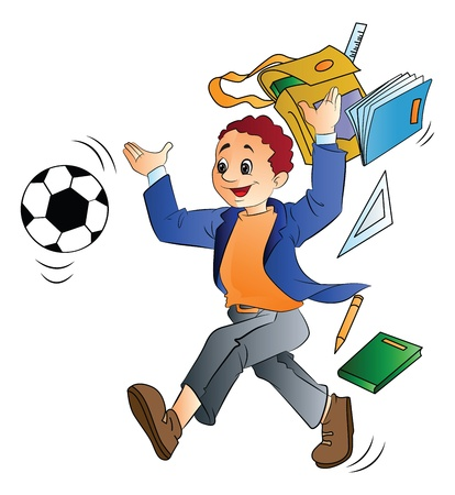 Young Man Throwing School Things to Play Soccer, vector illustration Stock Illustratie
