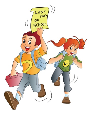 School Kids Excited About the Last Day of School, vector illustration