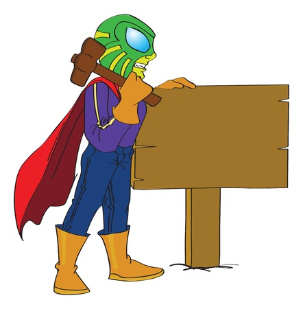 caped: Superhero Hammering a Sign Post to the Ground, vector illustration