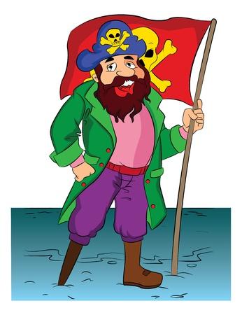 seaman: One-legged Bearded Pirate Holding a Flag, vector illustration Illustration