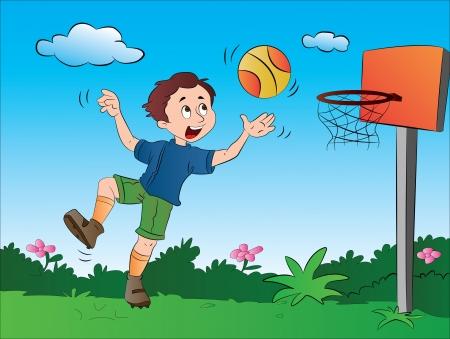 Jongen spelen basketbal, vector illustratie Stock Illustratie