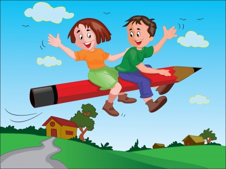 smart boy: School Kids Riding a Giant Pencil, vector illustration