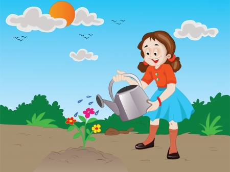 watering garden: Girl Watering Newly-planted Flowers, vector illustration