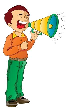 molesto: El hombre usando un megáfono, ilustración vectorial Vectores