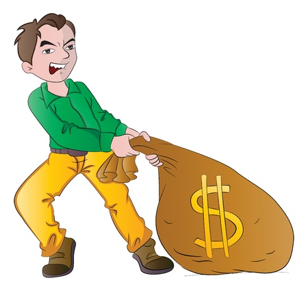 loot: Man with a Bag of Money, vector illustration