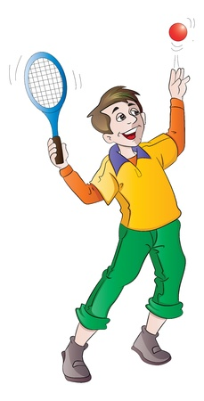 raquet: Young Man Playing Tennis, Serving, vector illustration